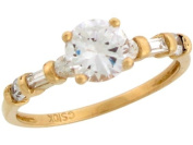 10k Real Yellow Gold White CZ Beautiful Ladies April Birthstone Ring