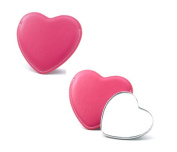 Aeropen International M-52 Colours Heart Shaped Single Sided Chrome Plated Metal Mirror with Pink PU Leatherette Sleeve