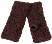 Nirvanna Designs MT13F Flower Crochet Handwarmers with Fleece - Chocolate