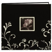 Scroll Embroidery Fabric Post Bound Album 30cm x 30cm -Black W/White