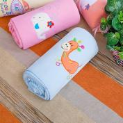 Blancho Bedding TB-BLK012-GIRAFFE-29.5by39.4 Orange Giraffe - Blue Embroidered Applique Coral Fleece Baby Throw Blanket