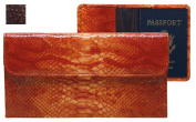 Raika AN 174 BROWN 9.25in. x 5in. Travel Pouch with Passport Cover - Brown
