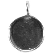 Base Elements Circle Pendant 19mm 1/Pkg-Silver Overlay
