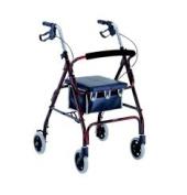 Merits W462BLACK 4-Wheeled Rollator Aluminium Loop Brake 15cm Wheels - Black