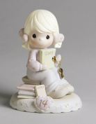 """Precious Moments, Birthday Gifts, """"Growing In Grace, Age 14"""", Bisque Porcelain Figurine, Blonde Girl, #272655"""