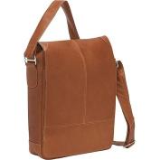 Piel Leather 2875 Urban Vertical Messenger Bag - Saddle