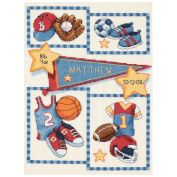 Dimensions 356012 Baby Hugs Little Sports Birth Record Counted Cross Stitch Ki-9 in. x 12 in. 14 Count