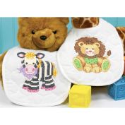 "Dimensions Baby Hugs ""Baby Express"" Bibs Stamped Cross Stitch Kit, 23cm x 36cm , Set of 2"
