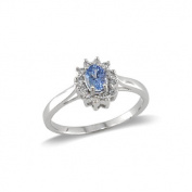 14K White Gold Tanzanite and Diamond Ring Size 8
