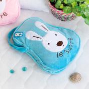 Blancho Bedding TB-CB006-BLUE-25.2by37 Sugar Rabbit - Blue Throw Blanket Pillow Cushion / Travel Pillow Blanket