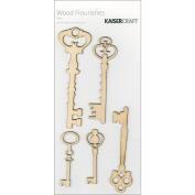 Kaisercraft FL306 Wood Flourishes 5-Pkg-Keys