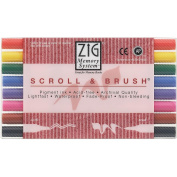 Zig MS50008V Zig Memory System Scroll and Brush Dual-Tip Markers 8-Pkg
