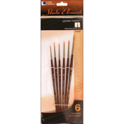 Studio Elements Short Handle Golden Taklon Brush Set, 6-Pack