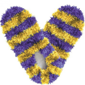 Red Carpet Studios 60093 Fuzzy Footies - Adult - Purple-Yellow Striped