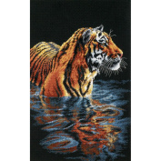 "Dimensions ""Tiger Chilling Out"" Counted Cross Stitch Kit, 23cm x 36cm"