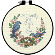 Learn-A-Craft Family Love Counted Cross Stitch Kit-15cm Round 14 Count