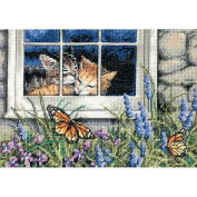 "Dimensions Gold Collection Petite ""Feline Love"" Counted Cross Stitch Kit, 18cm x 13cm 18-count"