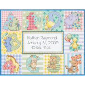 "Dimensions Baby Hugs ""Zoo Alphabet"" Birth Record Counted Cross Stitch Kit, 14ct, 30cm x 23cm"