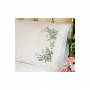"Dimensions ""Butterflies and Fern"" Pillowcase Pair Stamped Cross Stitch, 50cm x 80cm"