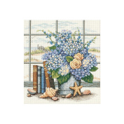 "Dimensions ""Hydrangeas And Shells"" Counted Cross Stitch Kit, 28cm x 30cm"