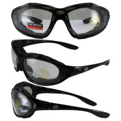 Birdz THRASHERCL Birdz Thrasher Motorcycle Glasses-Convert-to-Goggles with Clear Shatterproof Anti-Fog Polycarbonate Lenses and Wind Blocking Foam