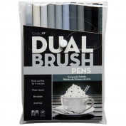 Tombow Dual Brush Pens 10/Pkg-Grey Scale