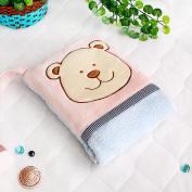 Blancho Bedding TB-CB002-PINK-28.3by35.1 Pink Bear Fleece Throw Blanket Pillow Cushion / Travel Pillow Blanket