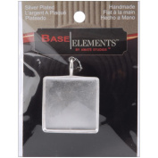 Base Elements Square Pendant 32mm 1/Pkg-Silver Overlay