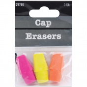 Pencil Cap Erasers 3/Pkg-Assorted Colours