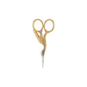 Red Ruby. Crystal Stork Scissors, 8.9cm , Gold Plated