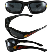 Birdz ORIOLEFLSM Birdz Oriole Flame Design Motorcycle Glasses with Smoke Shatterproof Anti-Fog Polycarbonate Lenses and Wind Blocking Foam