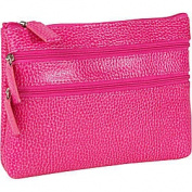 Budd Leather 291675-25 Pebble Grained Leather Triple Zip Cosmetic Case - Pink