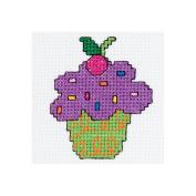 Bucilla 429072 My 1st Stitch Cup Cake Mini Counted Cross Stitch Kit-7.6cm . Round 14 Count