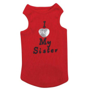 Petedge ZM2270 12 83 Casual Canine I Love My Sister Tank Sm Red