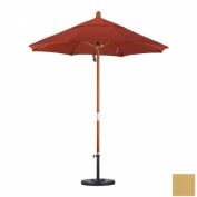 March Products MARE758-5484 7.5 ft. Wood Market Umbrella Pulley Open Marenti Wood-Sunbrella-Brass