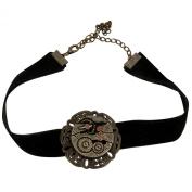 Elope Women's Steampunk Black Velvet Antique Gear Choker Adult