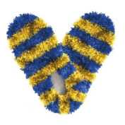 Red Carpet Studios 60090 Fuzzy Footies - Adult - Blue-Gold Striped