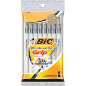 Bic Ultra Round Stic Grip Ball Pens Medium Point 8/Pkg-Black