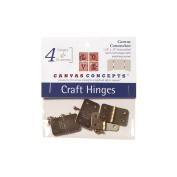 Decor Canvas Craft Hinges 4/Pkg-Brass 3.2cm X.190cm