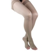 GABRIALLA Microfiber Unisex Thigh Highs (w/Open Toe) - Firm Compression 25-35 mmHg - Large