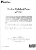 Alpha Omega Publications JMW015 Horizons Math 1 Worksheet Packet