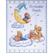 Tobin 471362 Bears In Clouds Birth Record Counted Cross Stitch Kit-28cm . x 36cm . 14 Count