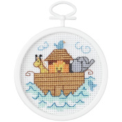 Janlynn 405810 Noahs Ark Mini Counted Cross Stitch Kit-6.4cm . Round 18 Count