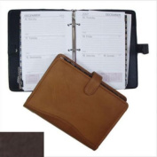 David King& Co 618C 7 in. x 10 in. Zippered 3 Ring Agenda with Handle- Cafe