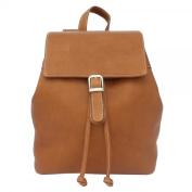 Piel Leather 2400 Top Flap Drawstring Backpack- Saddle