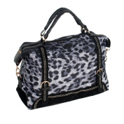 Blancho Bedding KP22501-BLUE Blue Eidolon Leopard Double Handle Satchel Bag Handbag with Shoulder Strap
