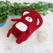 Blancho Bedding TB-BLK015-DARKRED-42.5by59.1 Happy Bear - Dark Red Embroidered Applique Coral Fleece Baby Throw Blanket