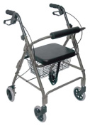 Mabis 501-1012-4100 Ultra Lightweight Aluminium Rollator - Straight Backrest - Titanium
