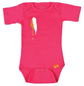 Uh-oh Industries ML20128FS The Messy Line - Fuchsia Double-dip slip 12-18 month onesie