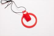 Dr. Bloom BNR-35239 Combo Bracelet and Necklace with Rectangle Slide - Red